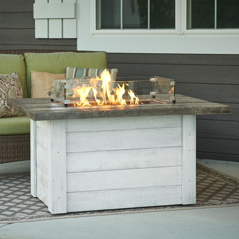 Alcott 48 Inch Rectangular Gas Fire Pit Table With Crystal