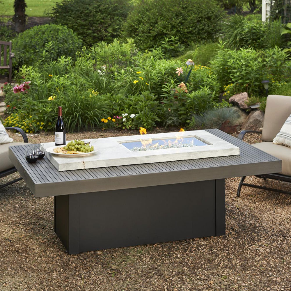 Boardwalk 72 inch linear gas fire pit table with crystal fire burner