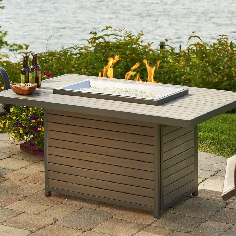Brooks 50 Inch Rectangular Gas Fire Pit Table With Crystal Fire Burner Marx Fireplaces Lighting