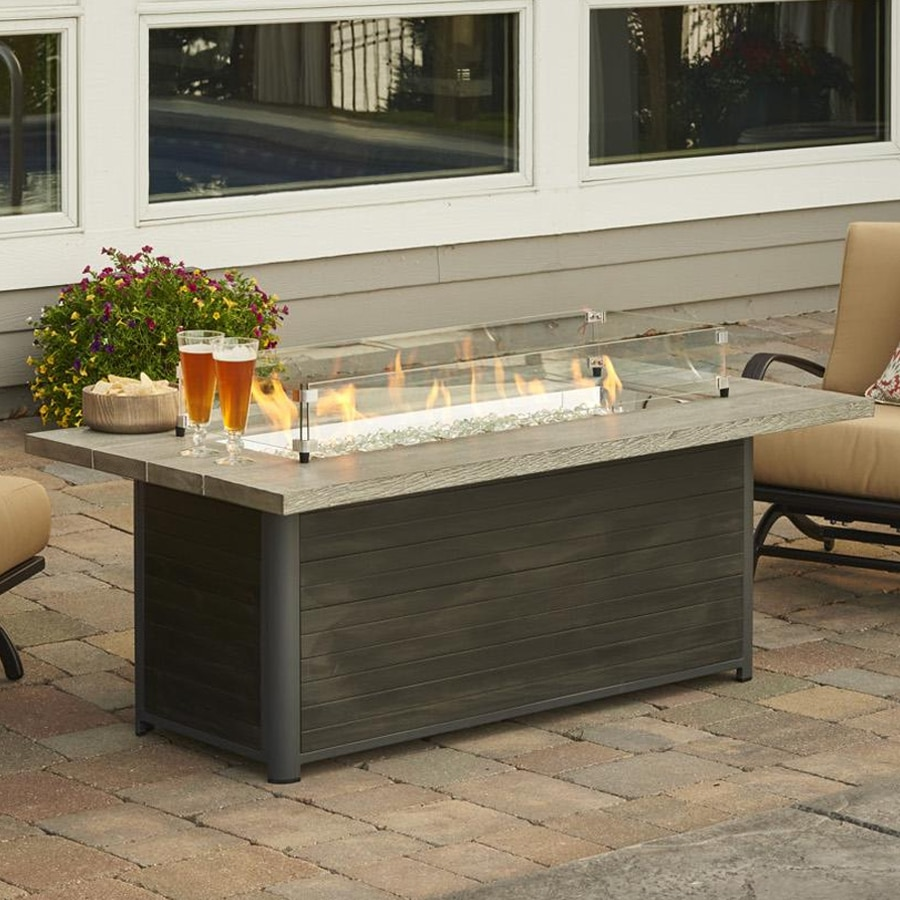 Tremendous Cedar Ridge 61 Inch Linear Gas Fire Pit Table With Crystal Fire Burner Download Free Architecture Designs Scobabritishbridgeorg