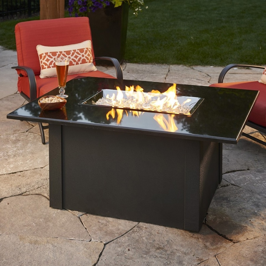 Grandstone 48 Inch Rectangular Gas Fire Pit Table With Crystal Fire