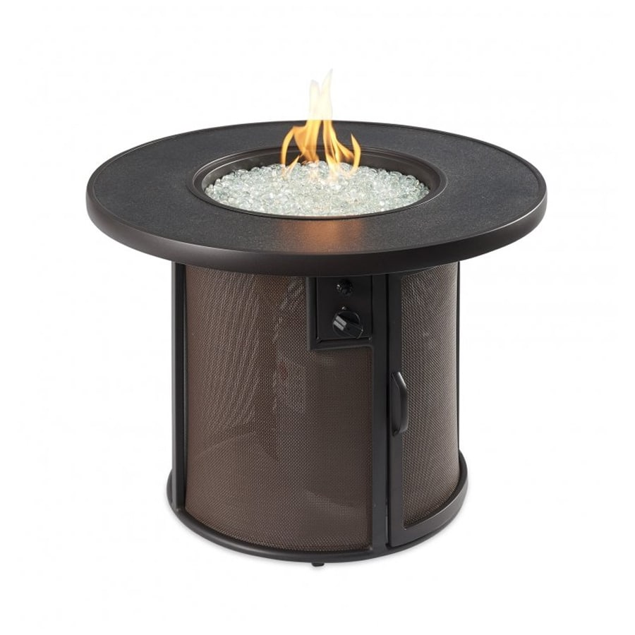 Stonefire 32 Inch Round Gas Fire Pit Table With Crystal Fire Burner Marx Fireplaces Lighting