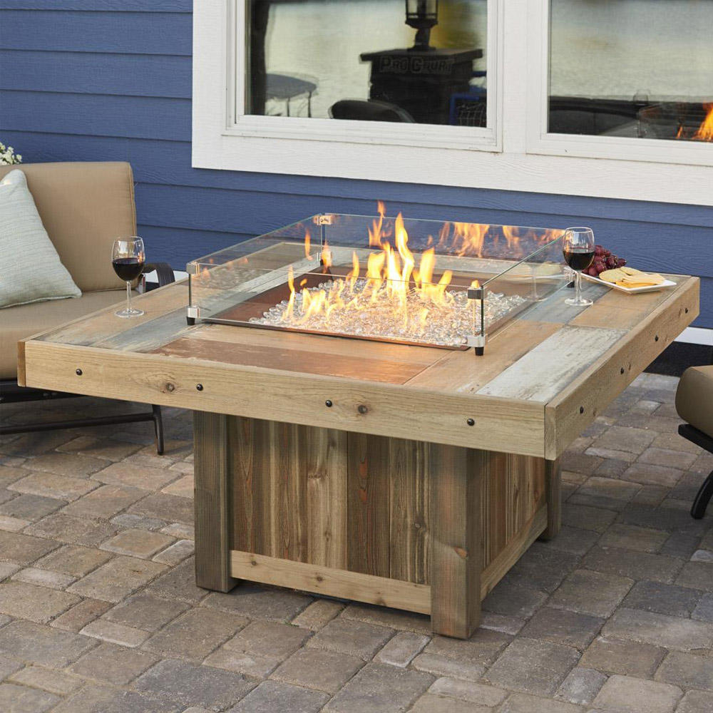 Vintage 48 Inch Square Gas Fire Pit Table With Crystal Fire Burner Marx Fireplaces Lighting