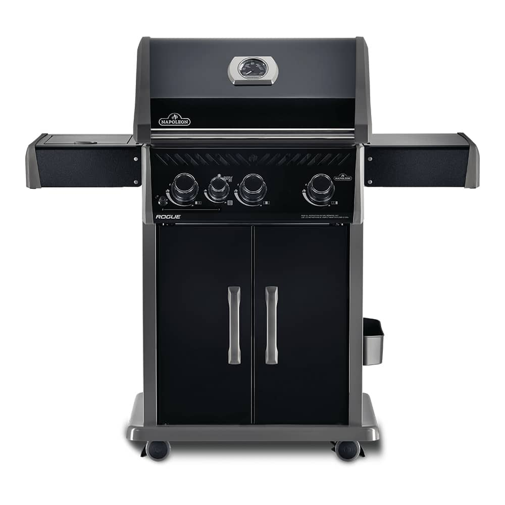 Napoleon Rogue 425 Black Edition 3 Burner Gas Grill With Infrared Side Burner In