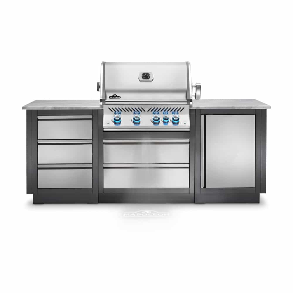 This Heavy Duty Galvanized Steel Framed Grill Island: Napoleon Oasis 100 Grill Island With Prestige PRO 500 Gas