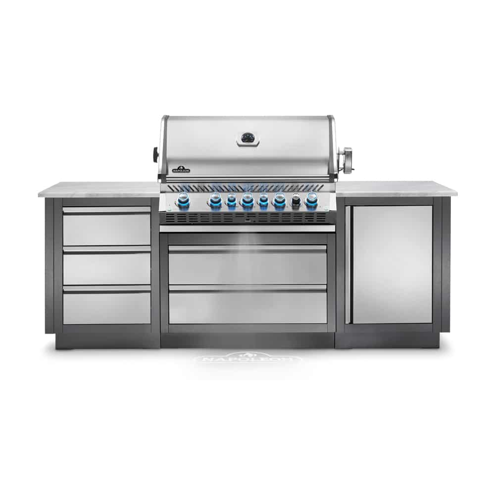 This Heavy Duty Galvanized Steel Framed Grill Island: Napoleon Oasis 100 Grill Island With Prestige PRO 665 Gas