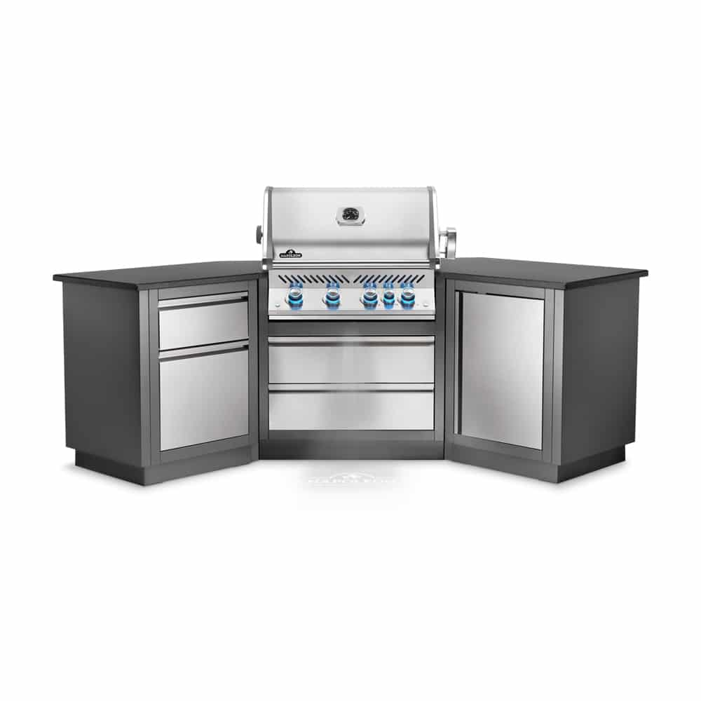 This Heavy Duty Galvanized Steel Framed Grill Island: Napoleon Oasis 200 Grill Island With Prestige PRO 500 Gas