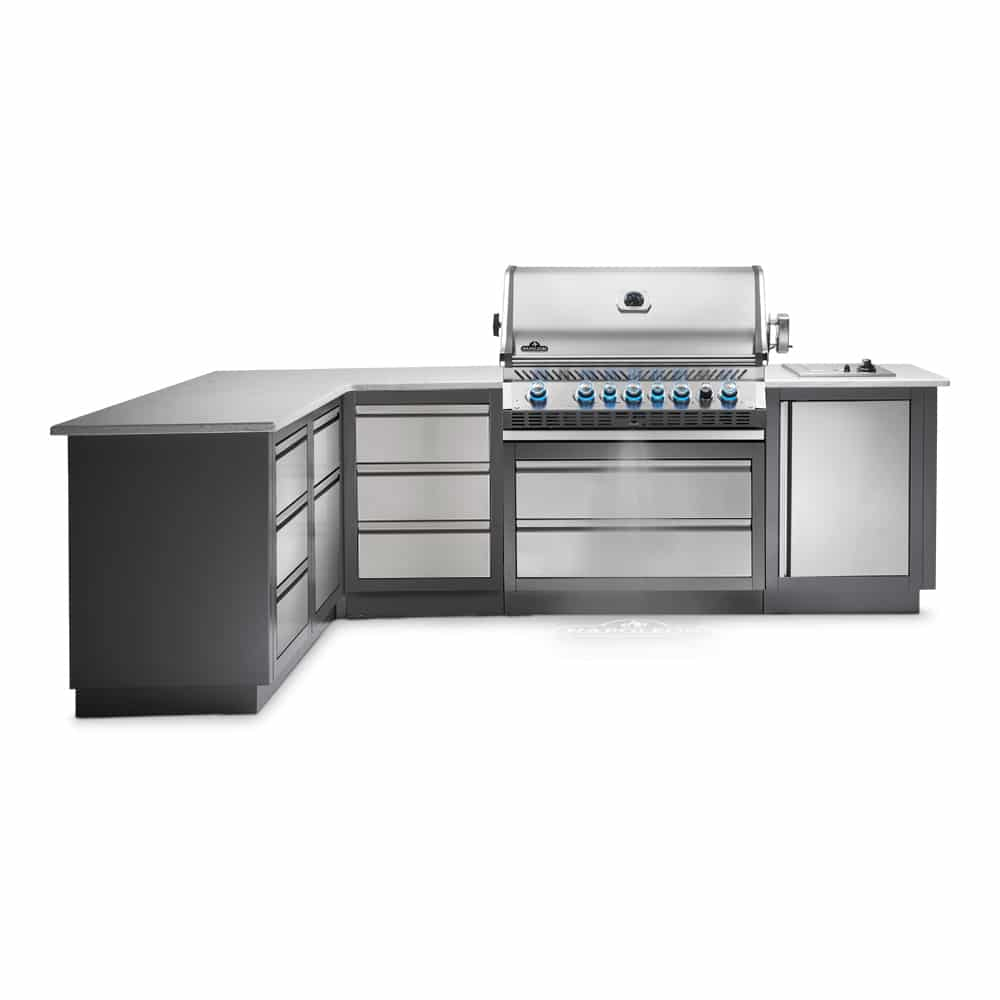 This Heavy Duty Galvanized Steel Framed Grill Island: Napoleon Oasis 300 Grill Island With Prestige PRO 665 Gas