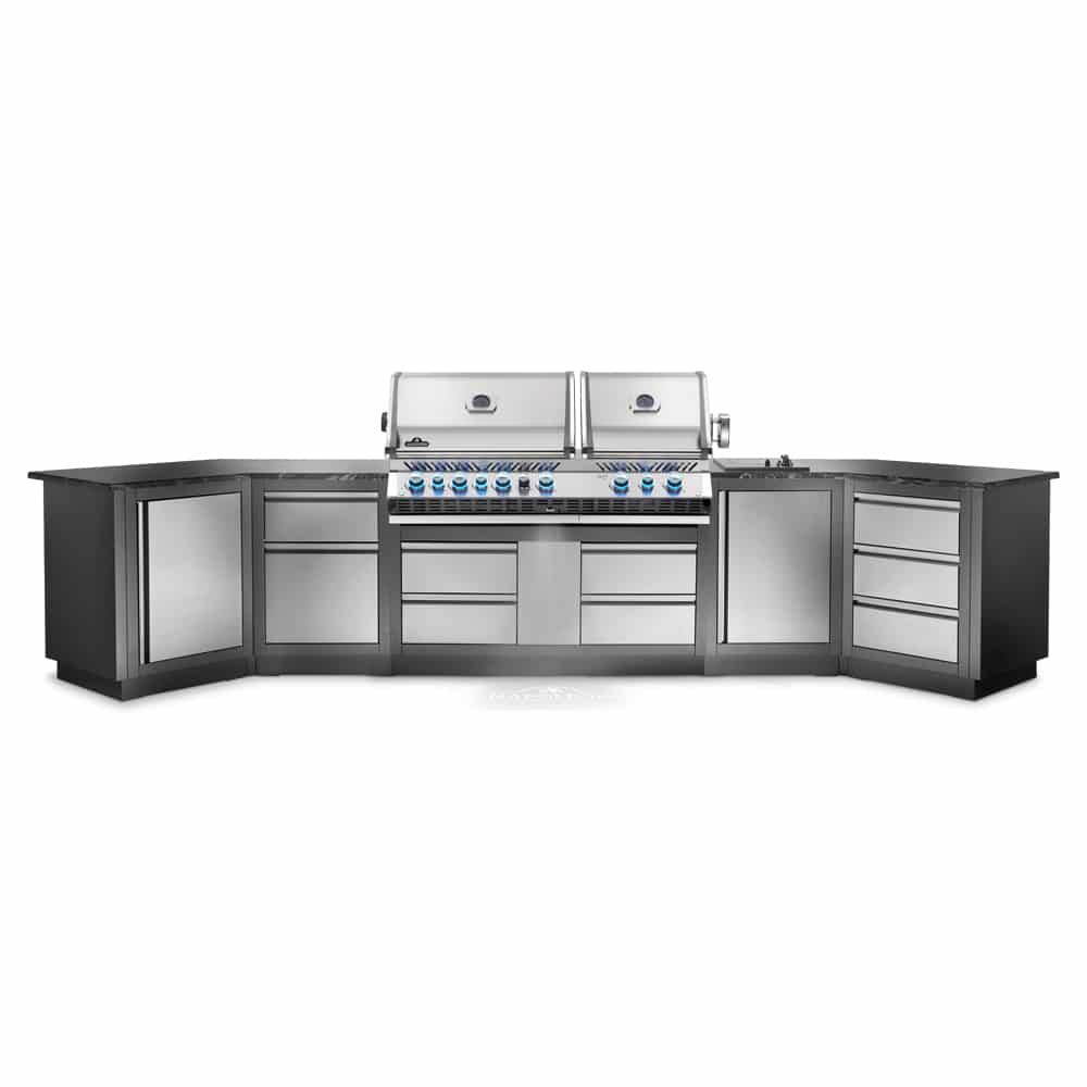 This Heavy Duty Galvanized Steel Framed Grill Island: Napoleon Oasis 400 Grill Island With Prestige PRO 825 Gas