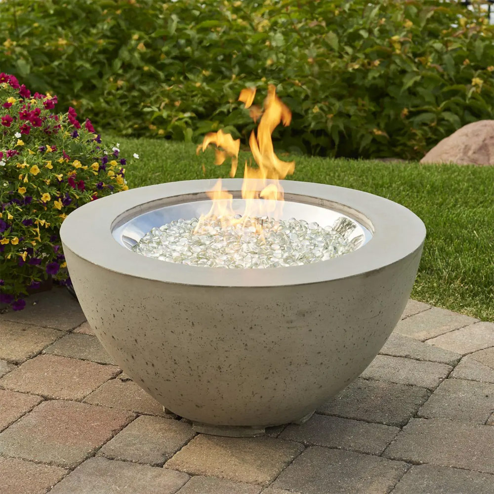 Cove 29 Inch Round Gas Fire Pit Bowl With Crystal Fire