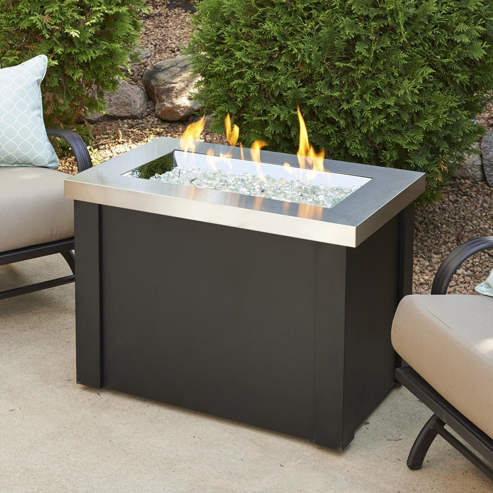 Providence 32-Inch Rectangular Gas Fire Pit Table with Crystal Fire Burner