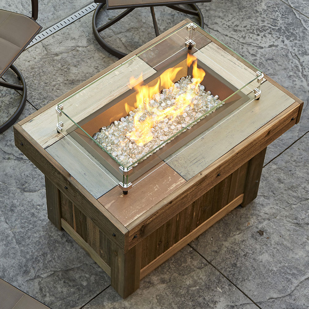 Vintage 37 Inch Rectangle Gas Fire Pit Table With Crystal